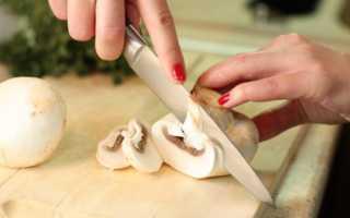 Как резать шампиньоны для жарки: фото, нарезка грибов кубиками, ломтиками, пластинками, соломкой, нужно ли отрезать ножку
