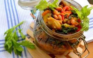 Салат из баклажанов и фасоли на зиму