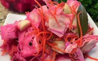 Острая маринованная капуста со свеклой