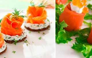 Канапе с семгой: рецепты с творожным, сливочным сыром, икрой, огурцом