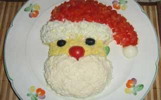 Новогодний салат Дед Мороз: рецепты с фото, с крабовыми палочками, с креветками