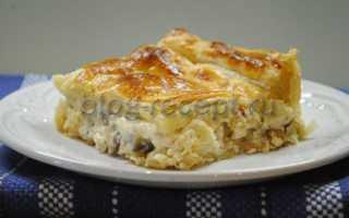 Пирог с шампиньонами: с курицей, сыром, капустой, из дрожжевого и слоеного теста