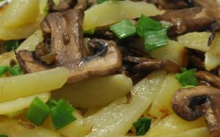 Картошка жареная с шампиньонами: на сковороде, в мультиварке