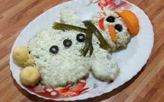 Салат Снеговик: рецепты с фото, с курицей, с грибами, с крабовыми палочками